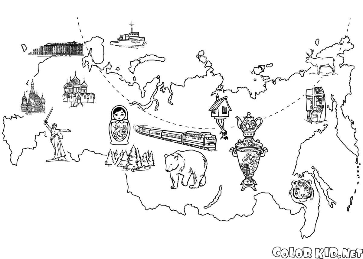 Coloring page - Map Of Russia