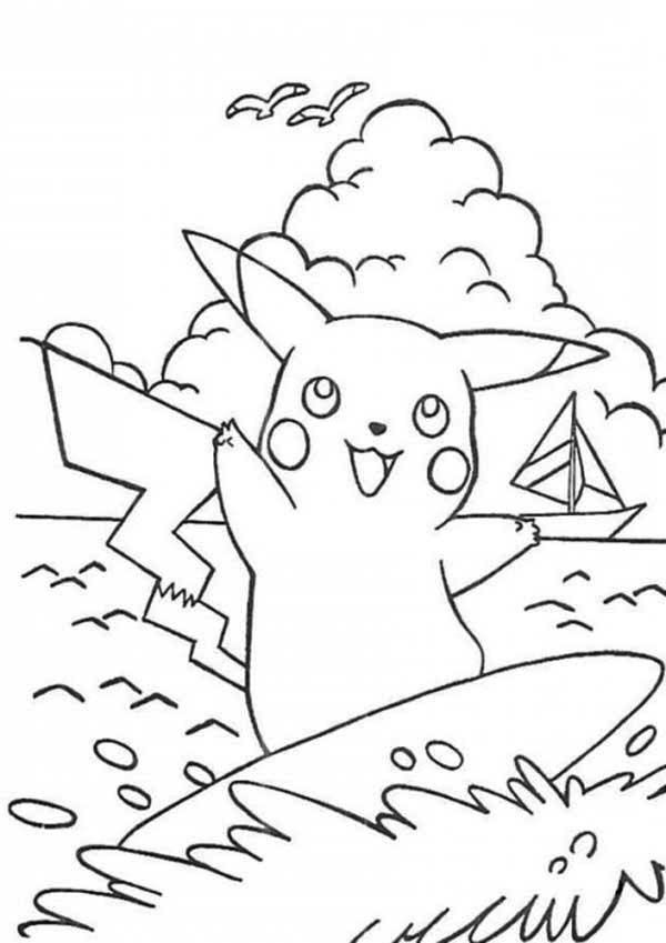 surfing coloring pages printable - pikachu doing surf on the beach coloring page free