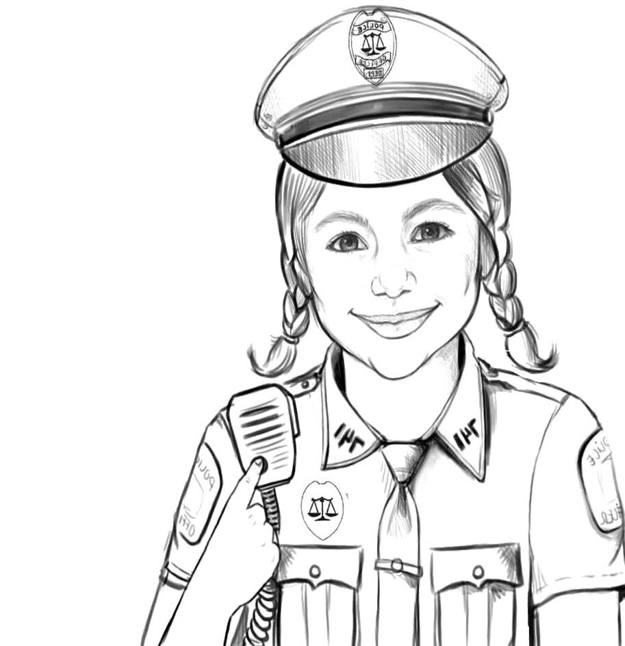 Police Officer - Coloring Pages for Kids and for Adults