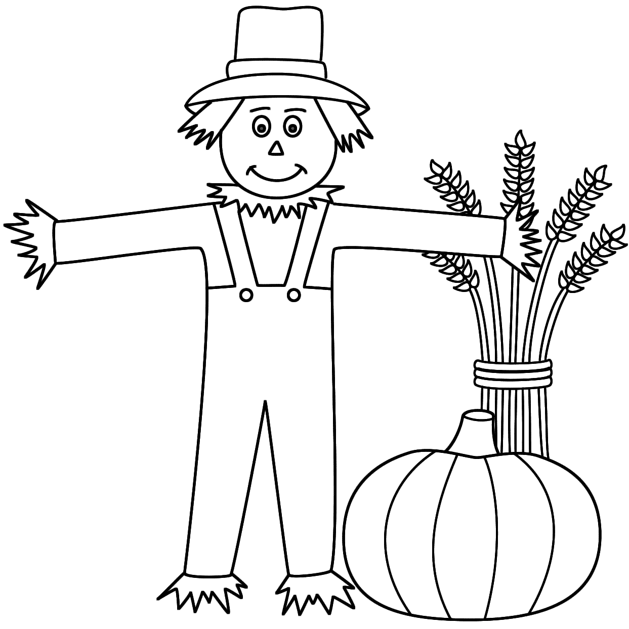 scarecrow with a wheat sheaf and pumpkin coloring page autumnfall
