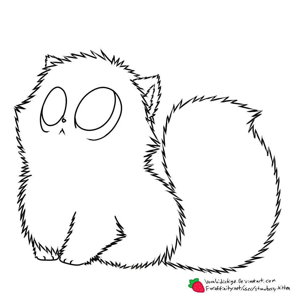 Fluffy Kitten Coloring Pages