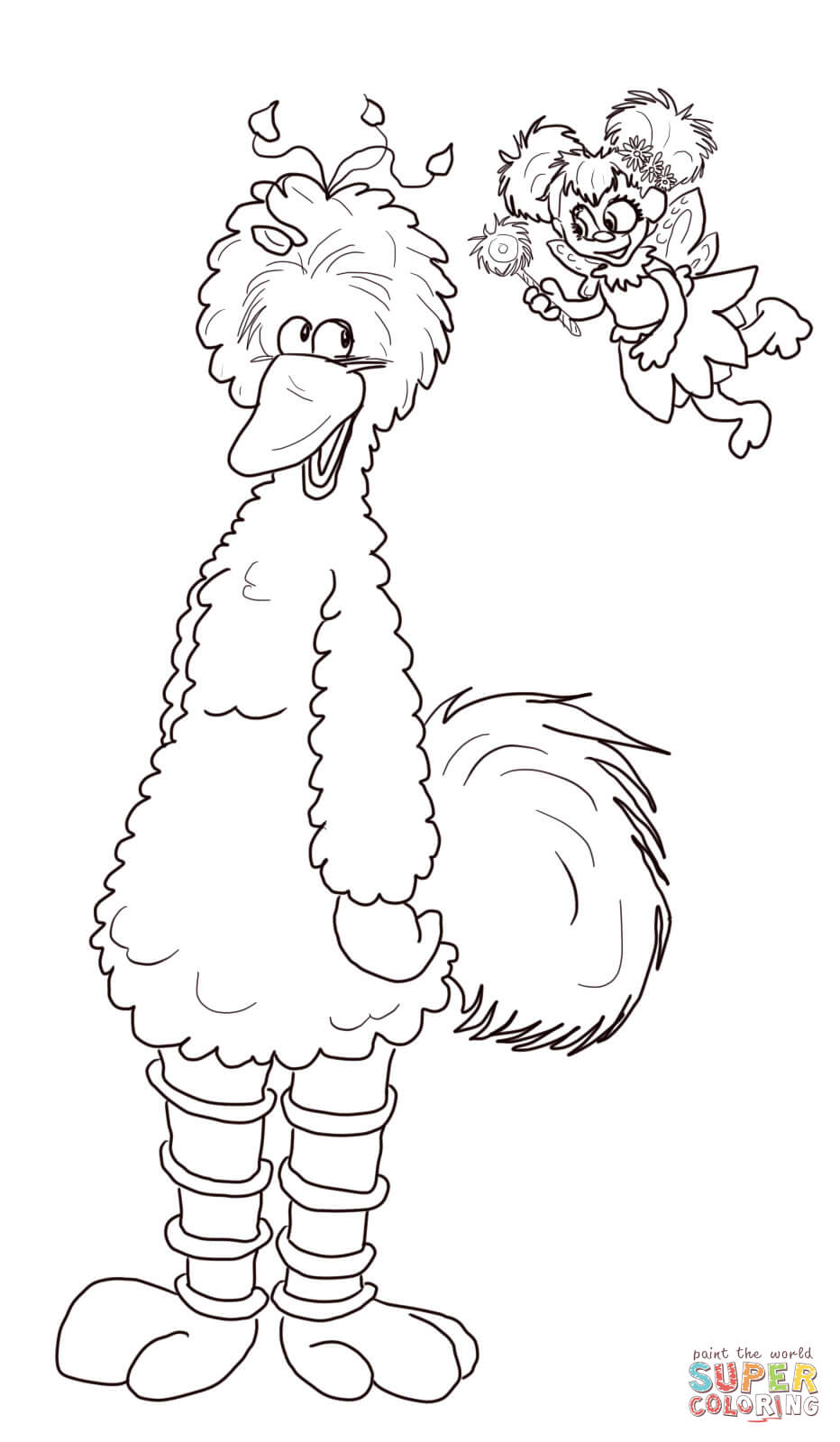 Abby cadabby and big bird coloring page free printable for Big bird coloring pages printable free