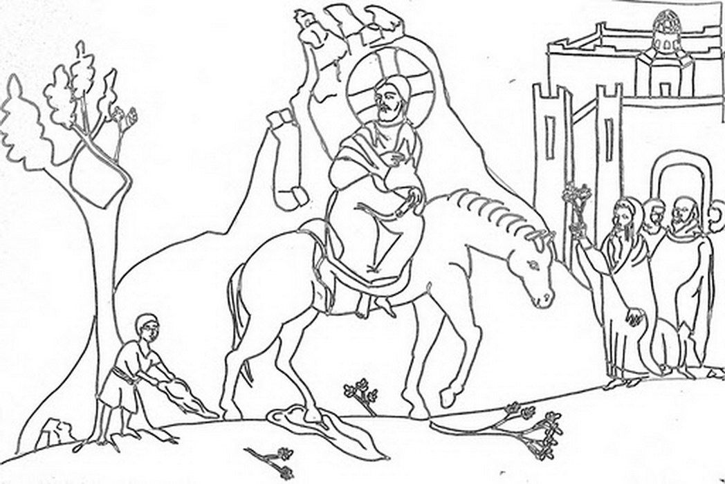 The triumphal entry coloring page coloring home for Palm sunday coloring page