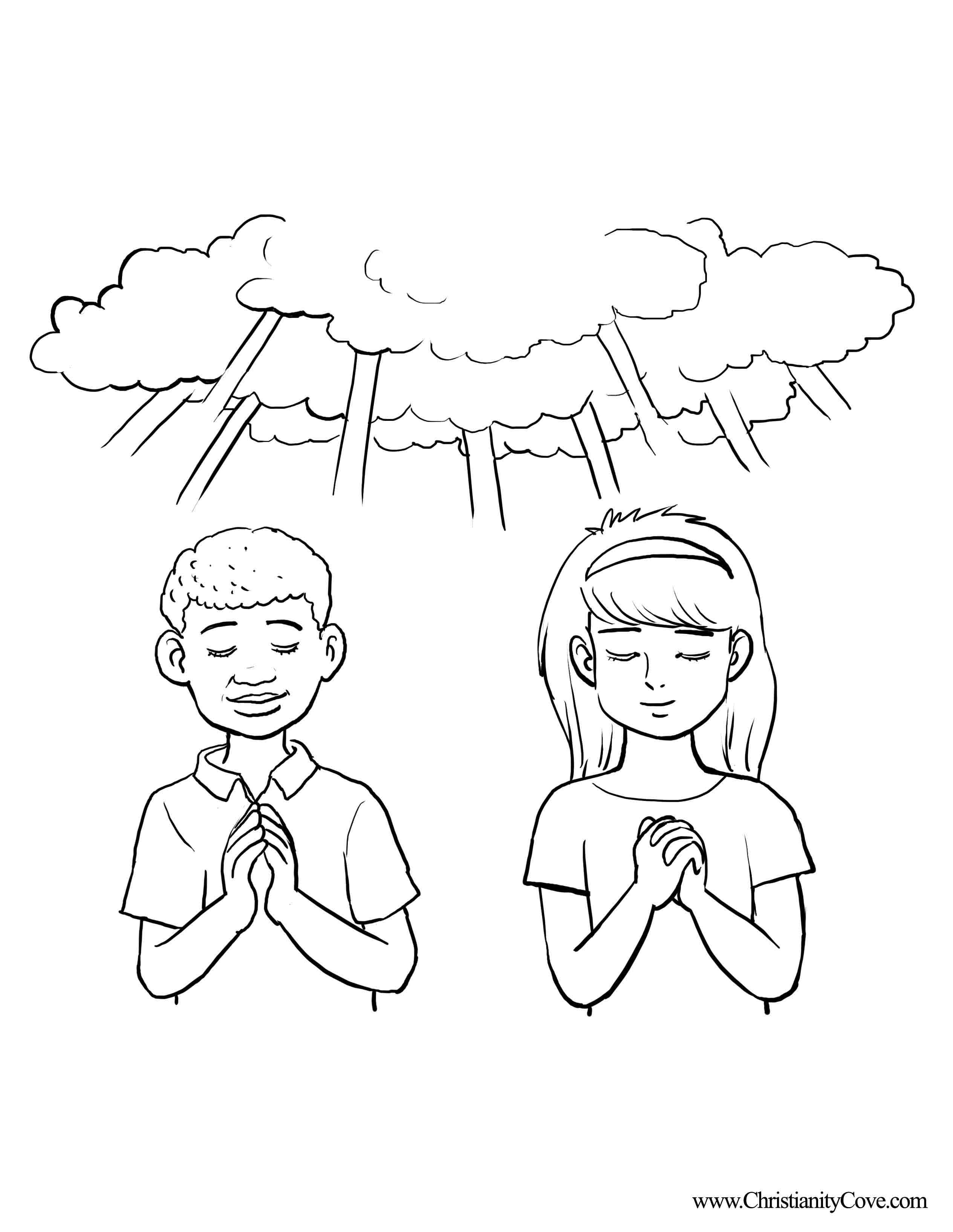 Boy And Girl Praying Coloring Page - Coloring Home