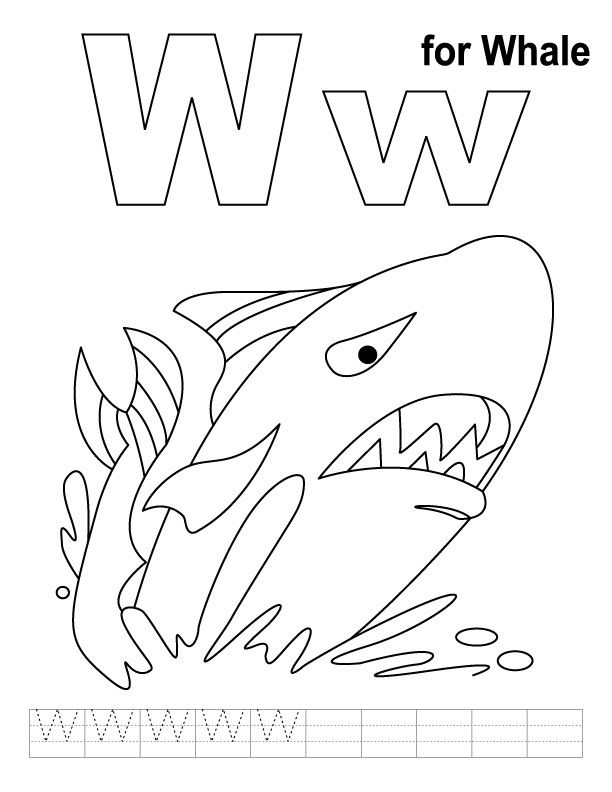 Whale Coloring Pages Pdf : W for whale coloring page with handwriting practice