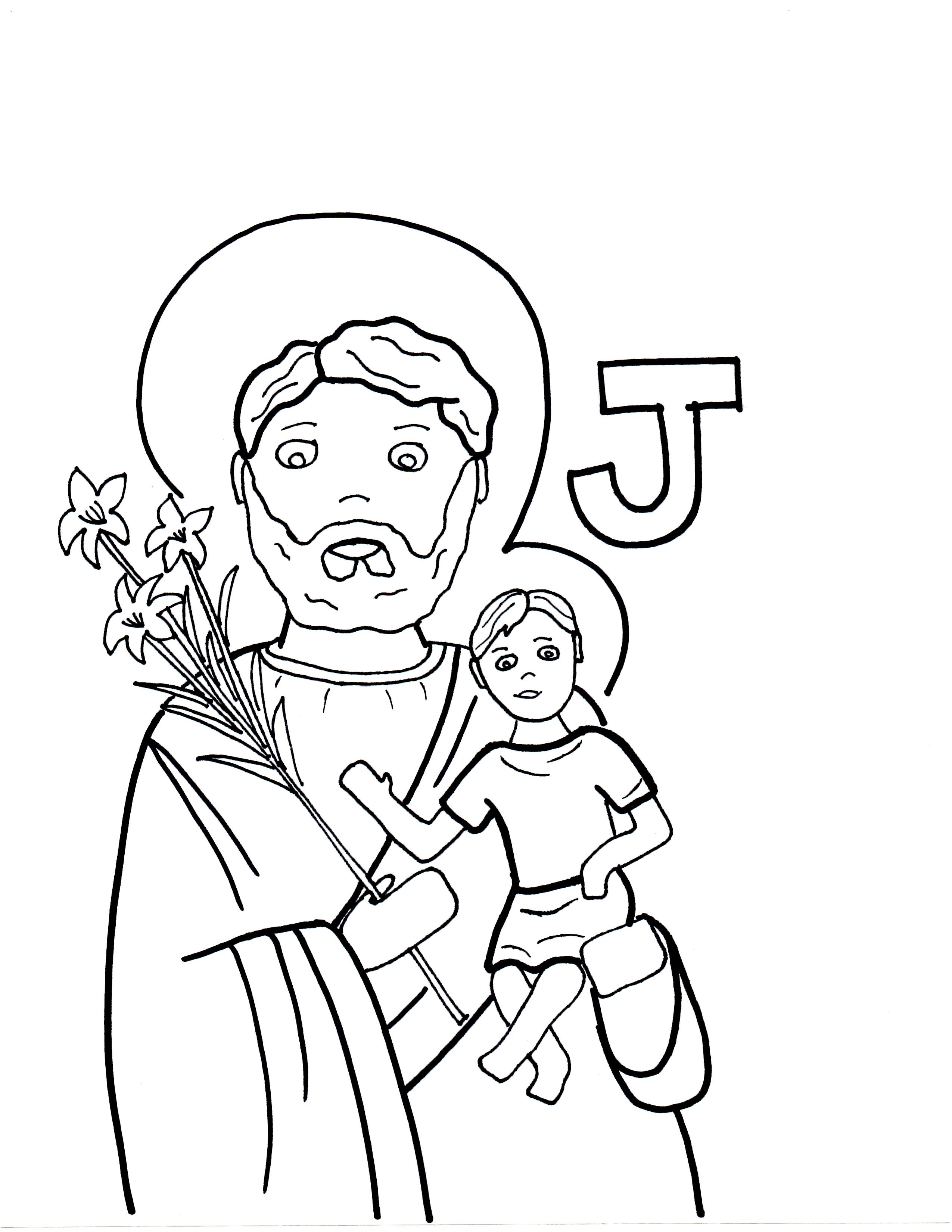 J Is For St. Joseph | Saints To Color - Coloring Home