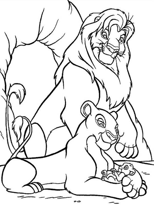 Lion king coloring page nala and simba for Lion king scar coloring pages