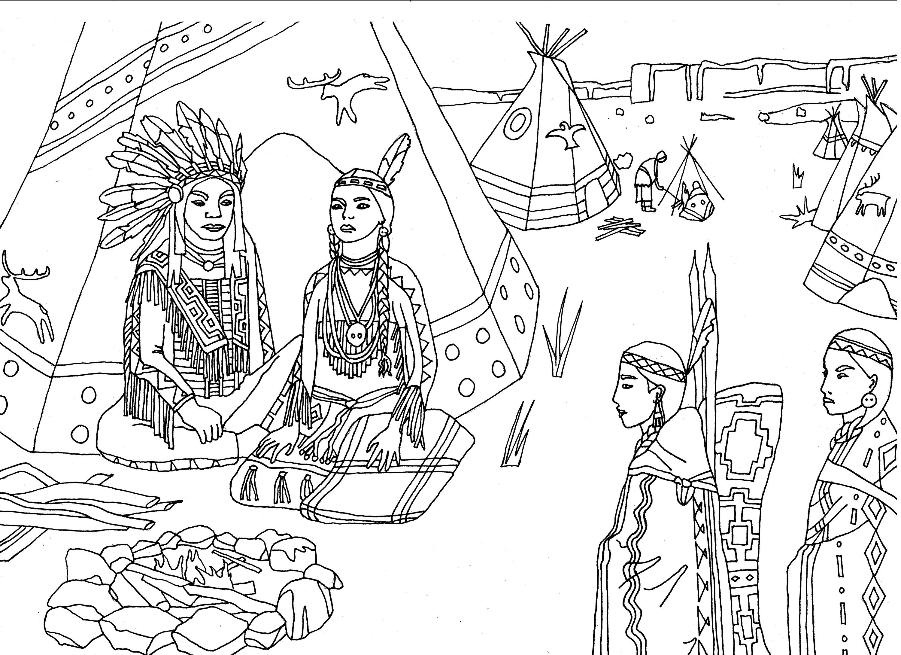 Cherokee indian coloring pages coloring home for Free indian coloring pages