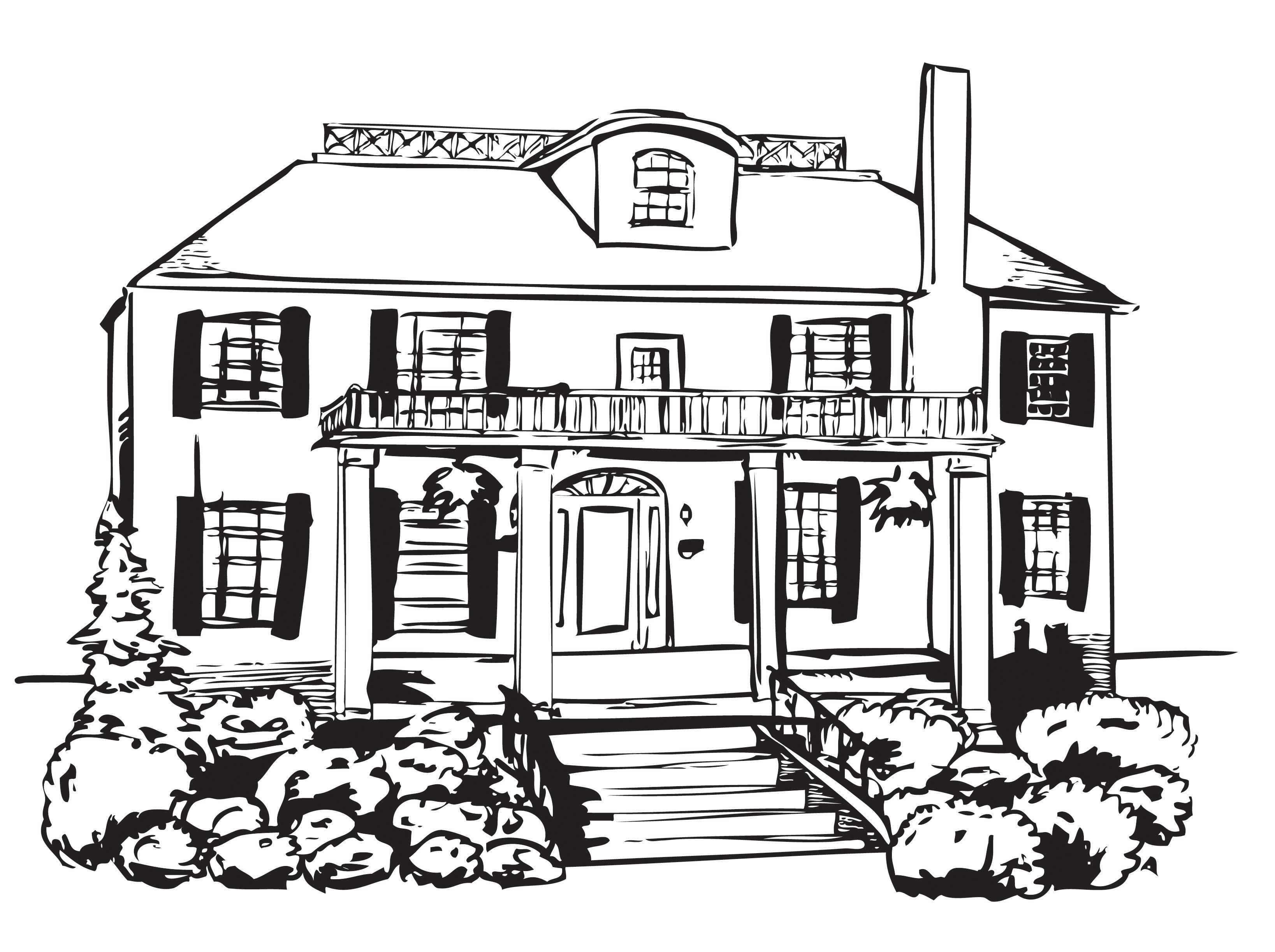 Big Haunted House Coloring Page