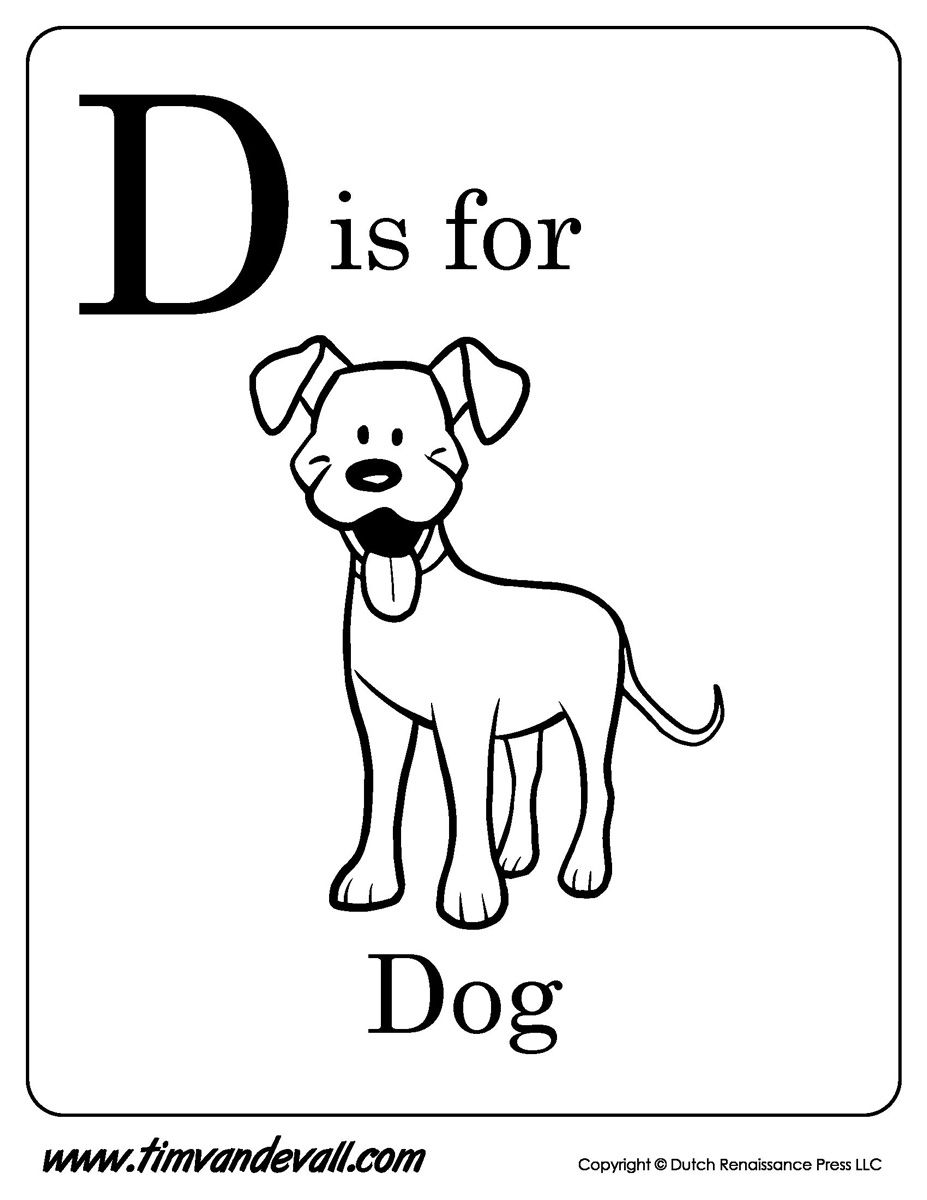 Tags: dog | D is for dog, Alphabet coloring pages, Coloring pages
