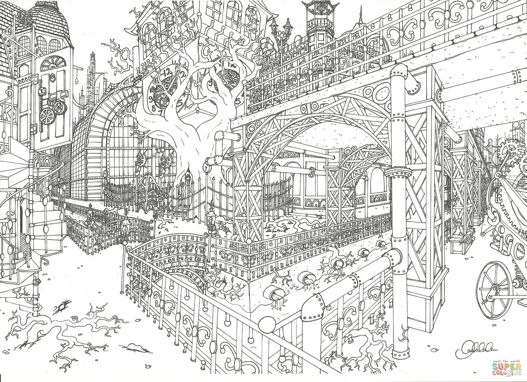 Steampunk City Coloring Page Free Printable Coloring Pages