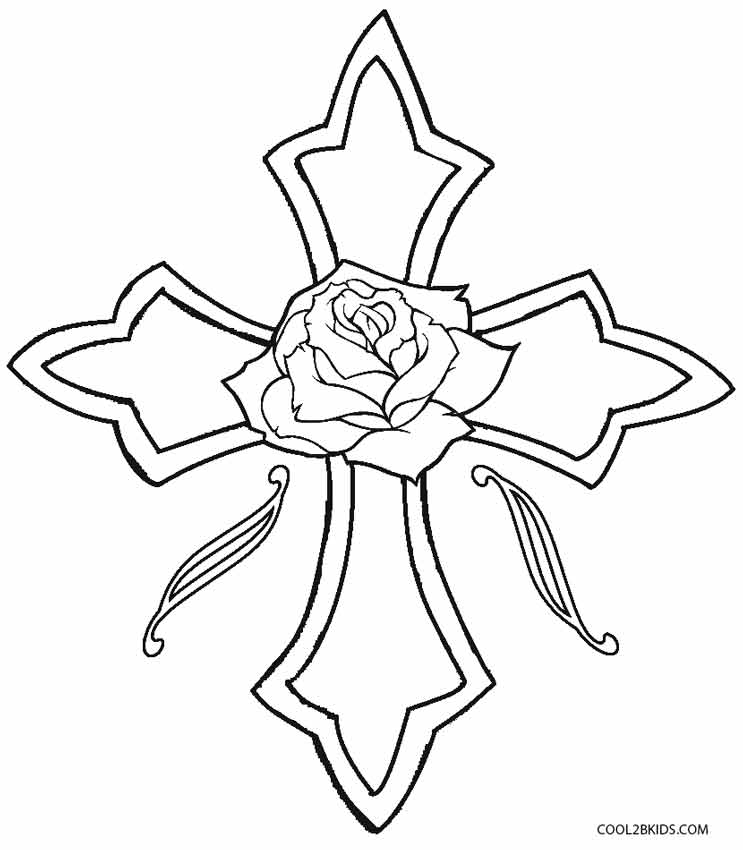 Cross With Roses Coloring Pages Sugar Skull With Roses Coloring