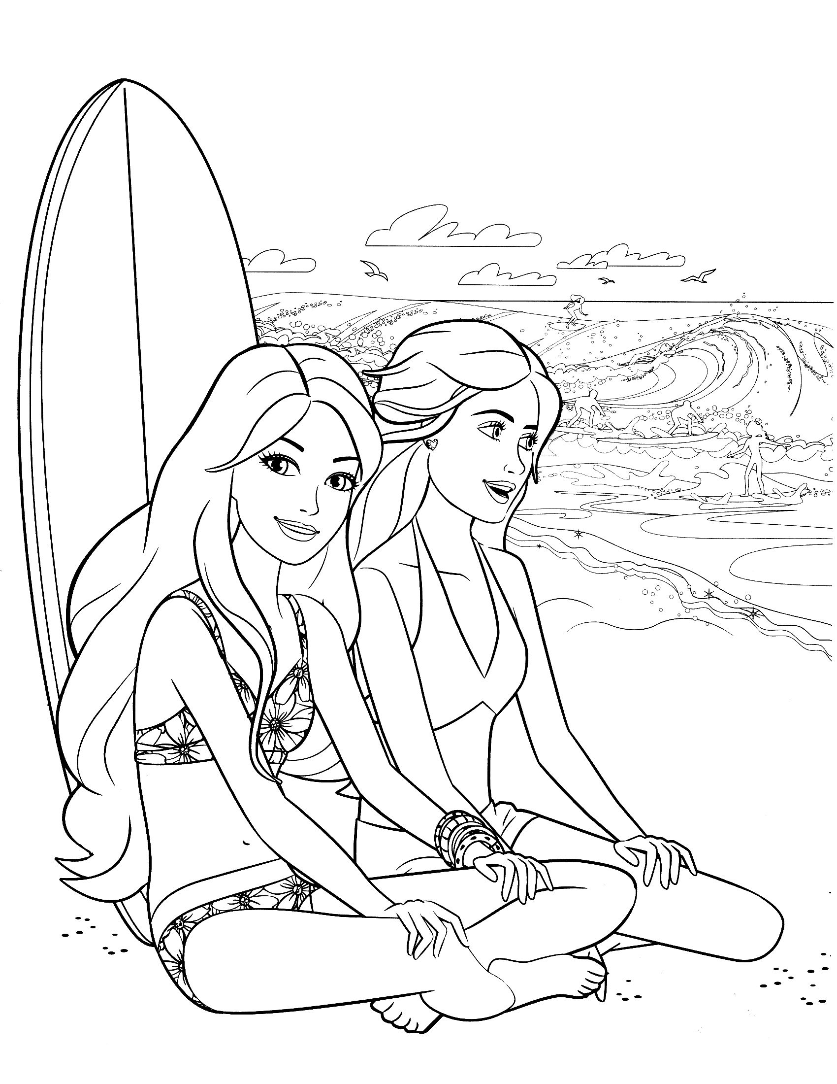 colouring in | Barbie coloring ...