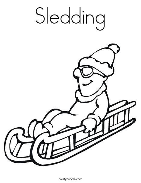 Sledding Coloring Page - Twisty Noodle