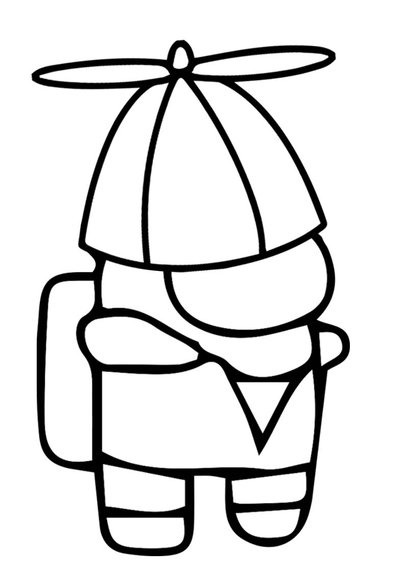 Among Us Coloring Page With Funny Hat - TSgos.com