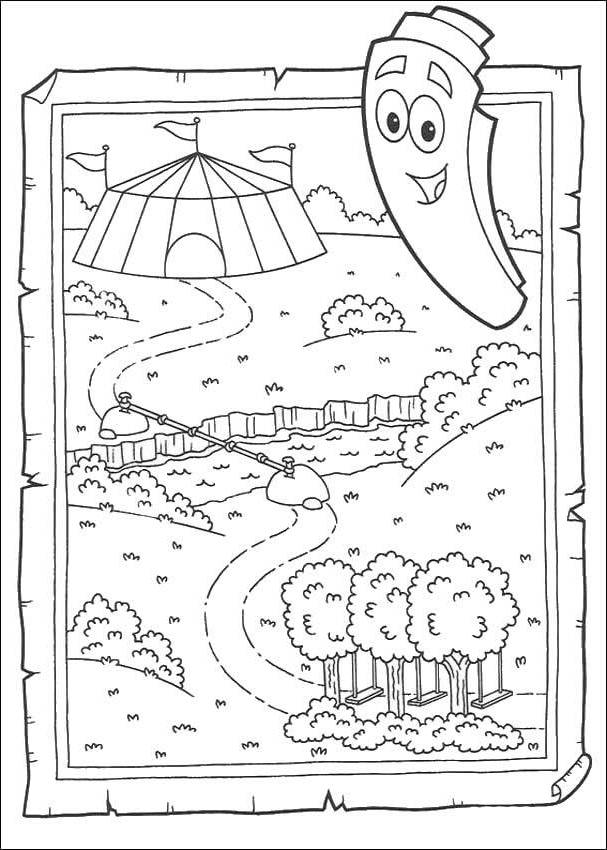 Dora The Explorer Map Coloring Pages - Coloring Home