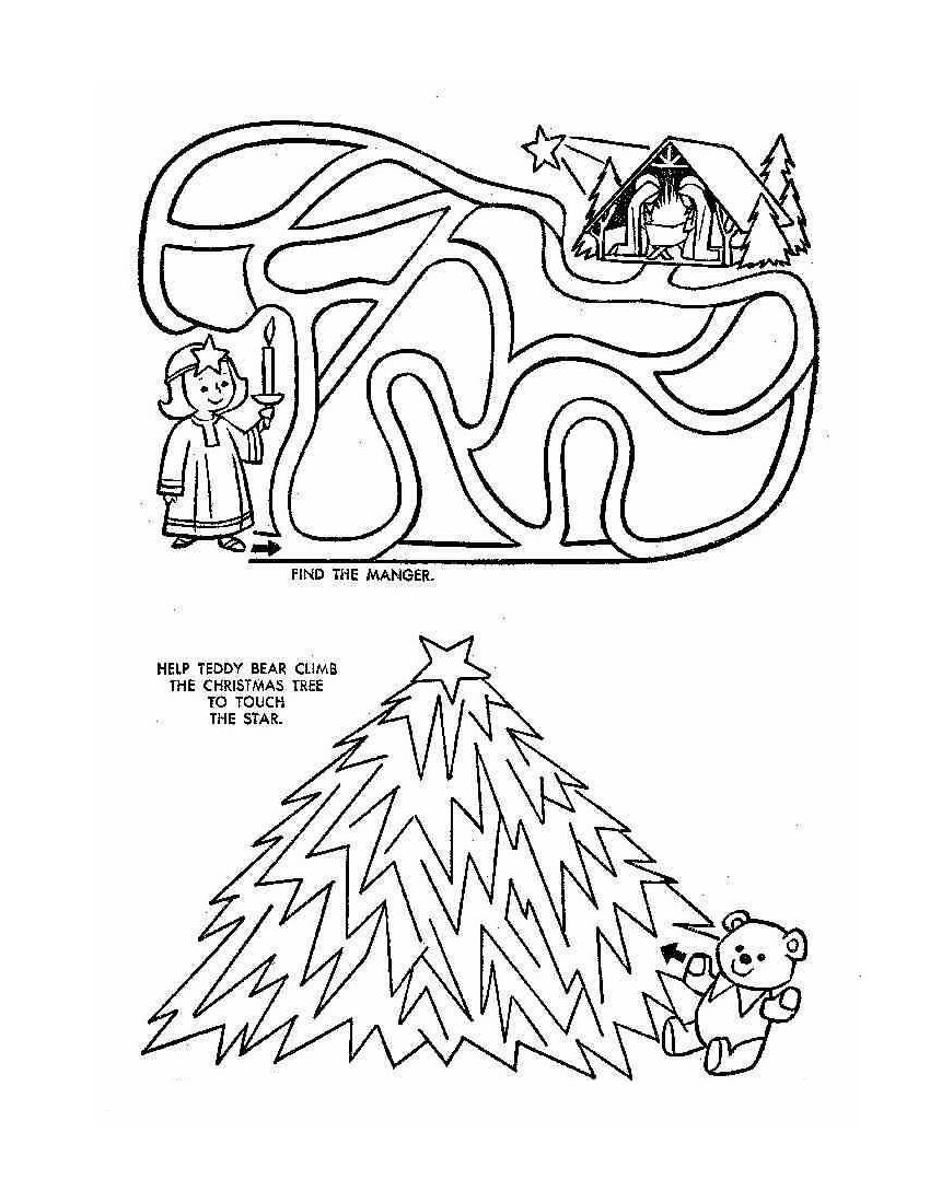 christmas coloring pages puzzles - photo#18