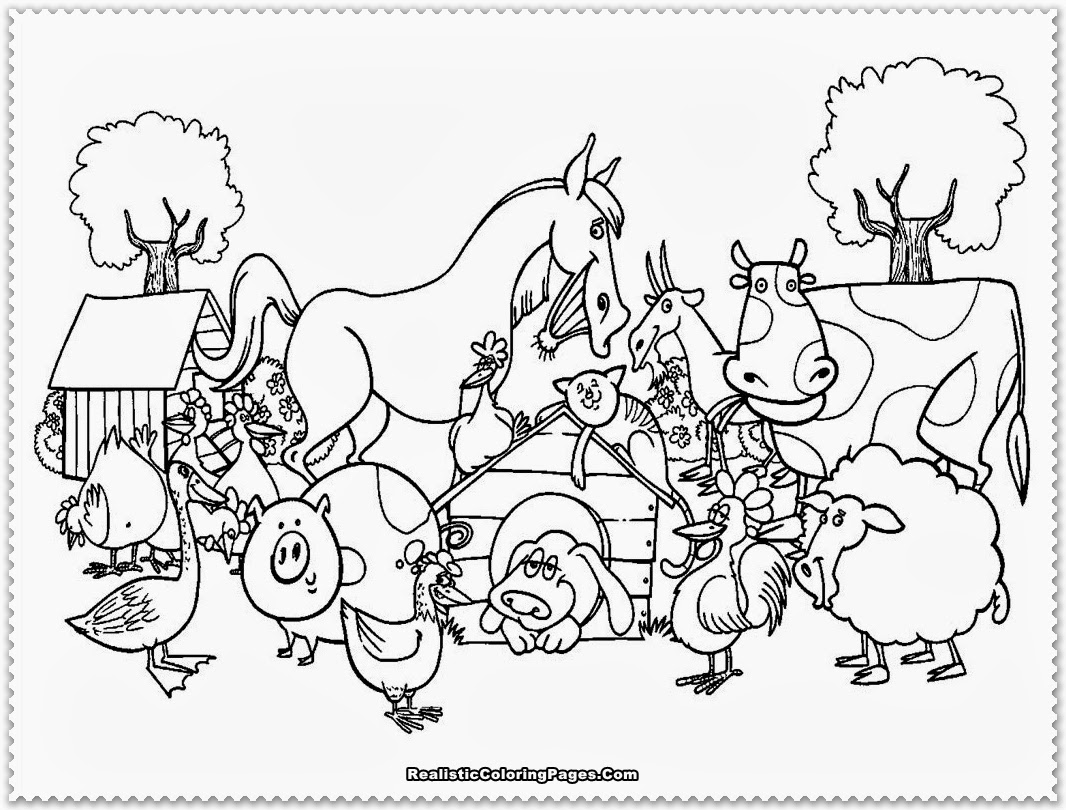 printable coloring pages barn with animals coloring home - Animal Colouring Pictures To Print
