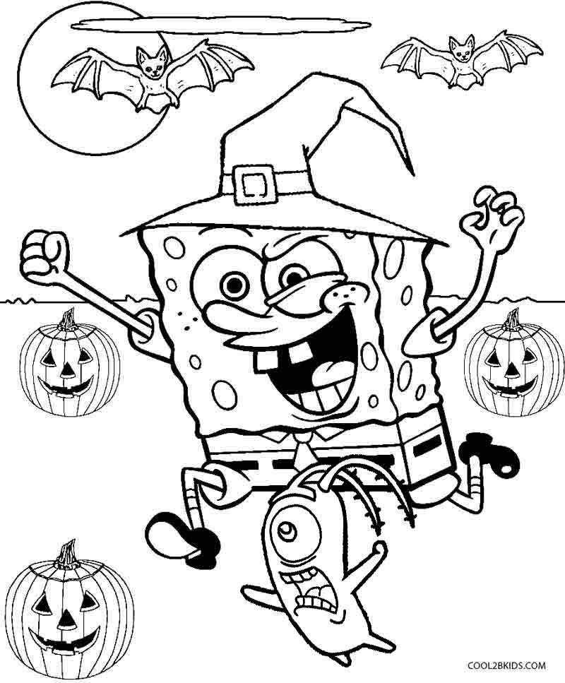 Spongebob Halloween Coloring Pages Home