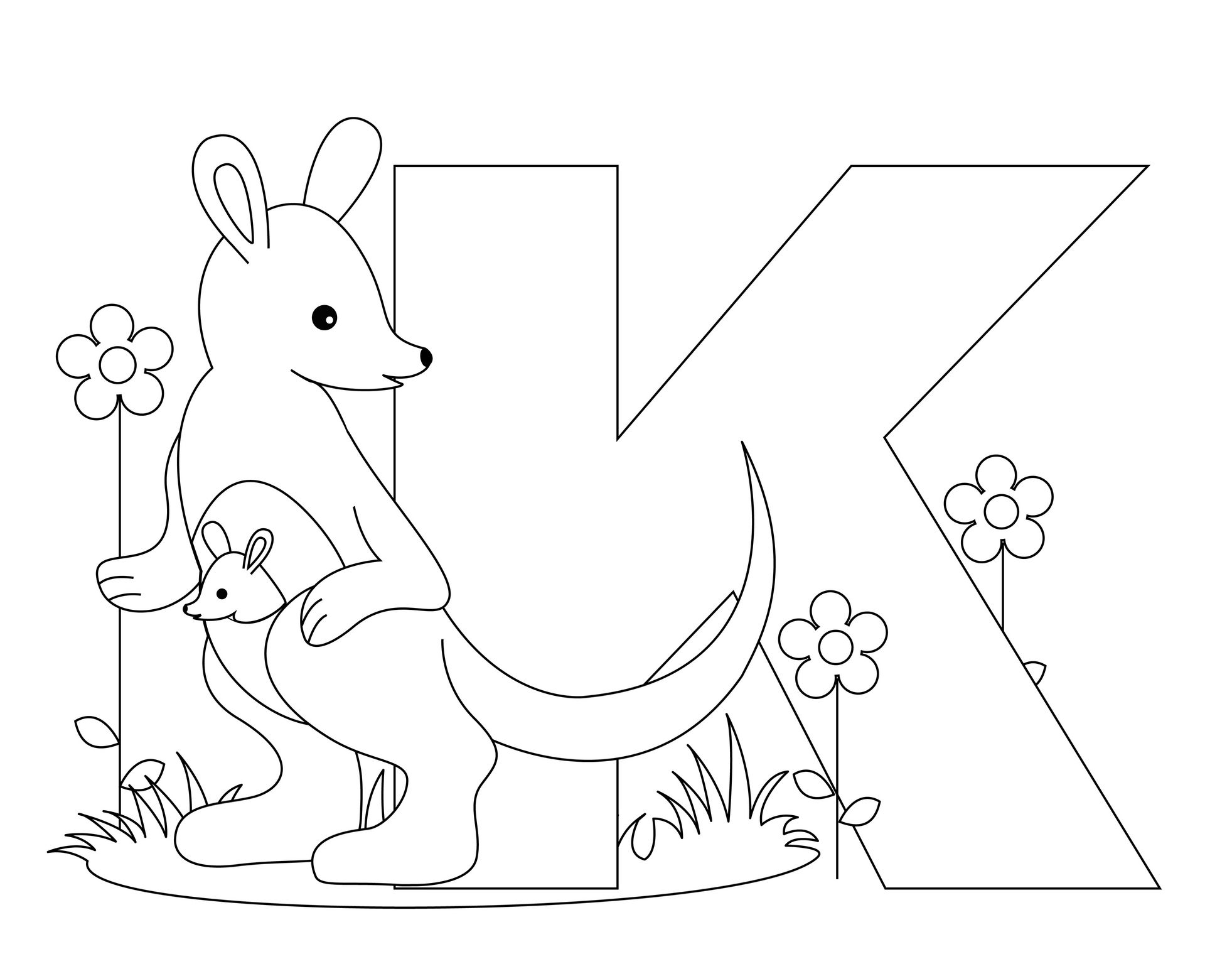 K coloring pages print - Abc Coloring Books Pages For Kids And Printable Abc Adult