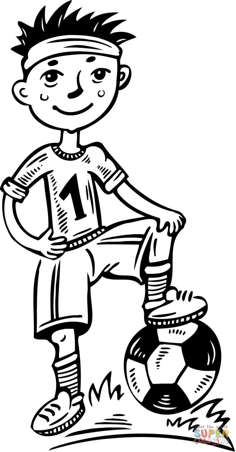 Young boy soccer player coloring page free printable coloring CR7 Soccer Player Coloring Pages Football Coloring Pages to Print for Boys Soccer Player Standing