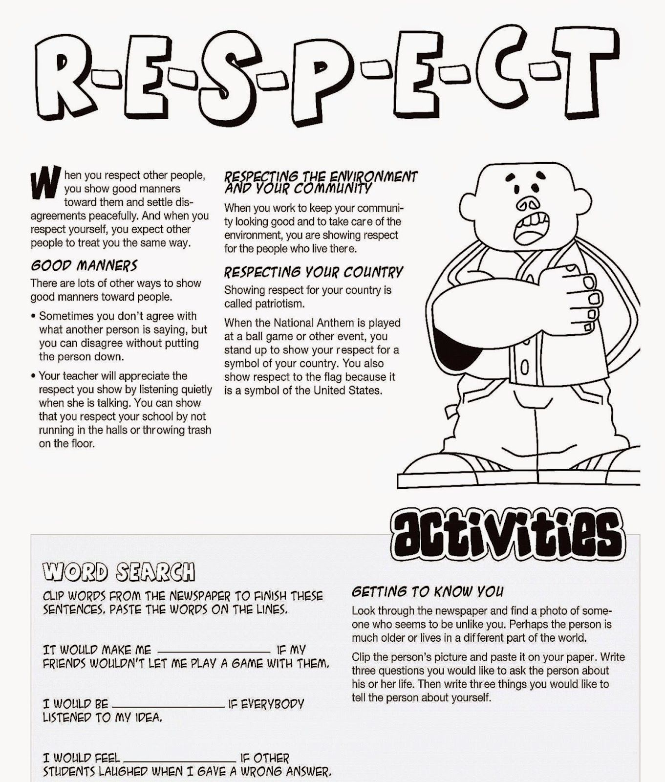 Respect Coloring Sheets | Free Coloring Sheet