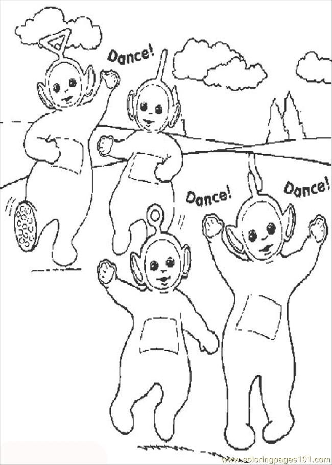 Coloring Pages Dance Teletubbies (Entertainment > Dancing) - free