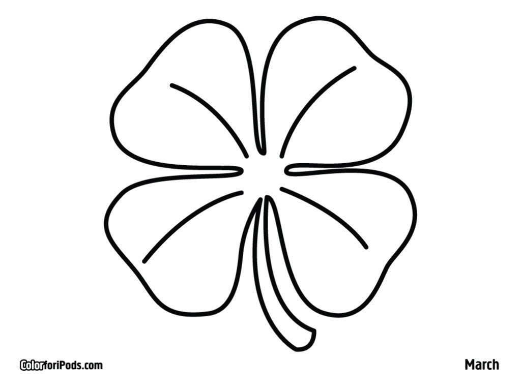 Four Leaf Clovers Coloring Pages Az Coloring Pages Three Leaf Clover Coloring Page