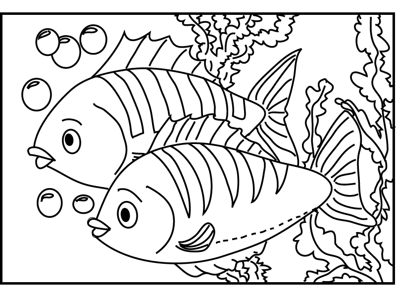 Love Is In The Air Kissing Fish Coloring Pages - Download & Print ... | 600x800