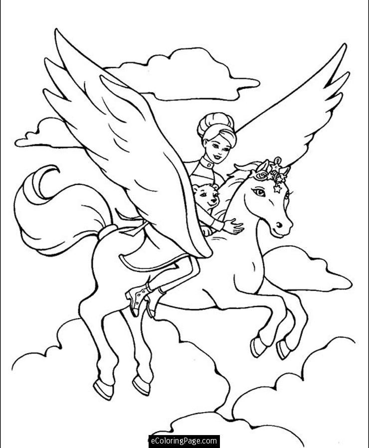Barbie Riding Flying Horse Pegusus Coloring Page for Girls