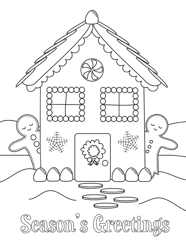 Gingerbread House Coloring Pages For Kids Az Coloring Pages Coloring Page Gingerbread House