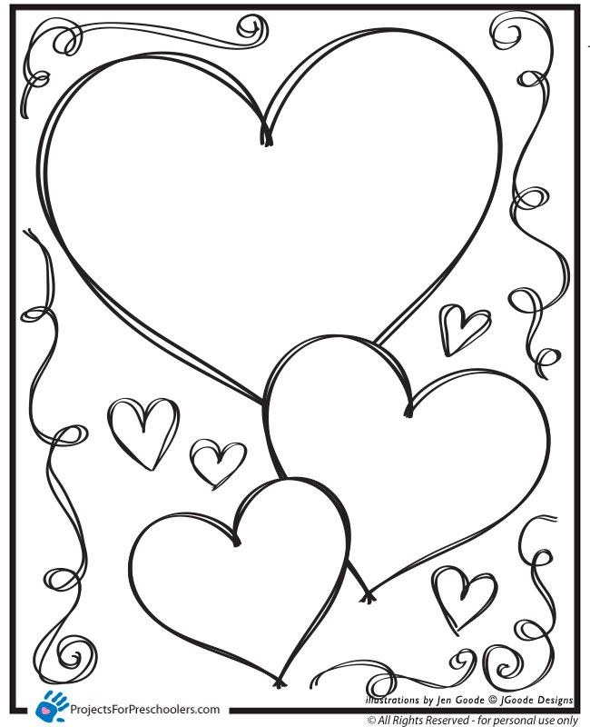 free printable valentine hearts and swirls coloring page from