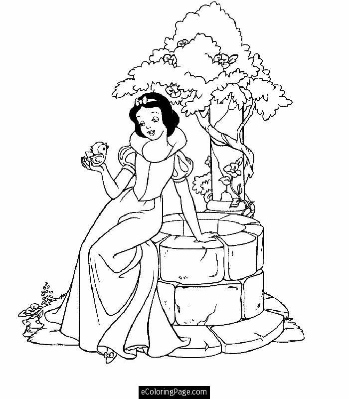Disney Princess Snow White Coloring Page Printable | eColoringPage
