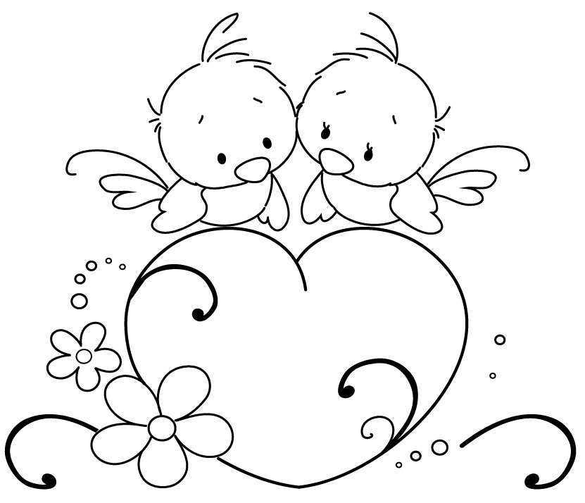 coloring pages love birds - photo#8