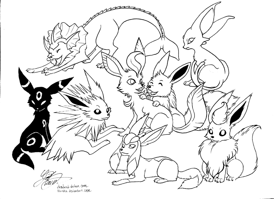 Eevee Evolution Chart Coloring Pages of Eevee Coloring Page