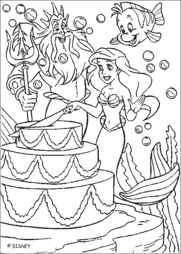 The Little Mermaid coloring pages - Ariel's birthday cake