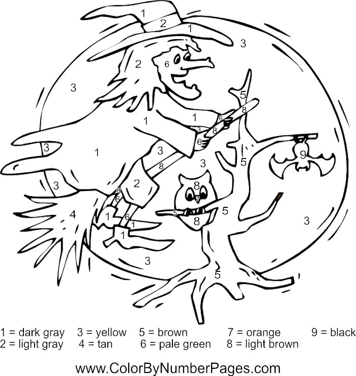 Halloween Coloring Pages Numbers : Printable Color By Number Coloring Pages AZ Coloring Pages