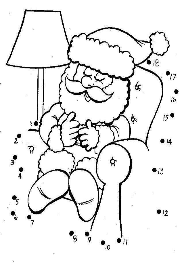 Santa connect the dots coloring page