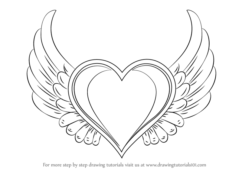 Coloring Pages Of Hearts With Wings - Coloring Home