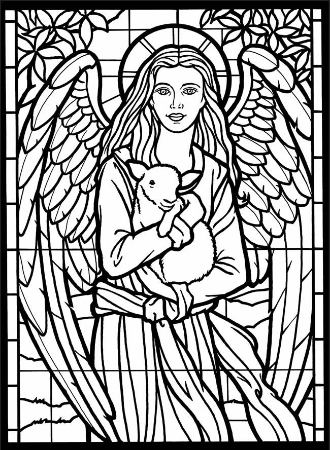 Printable stained glass window coloring page coloring home for Stained glass coloring pages for adults