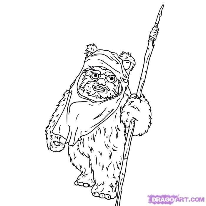 how to draw an ewok