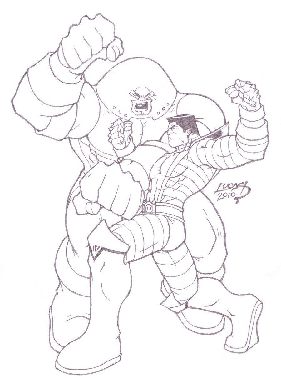 Colossus Vs Juggernaut Coloring Sketch Coloring Page Coloring Home