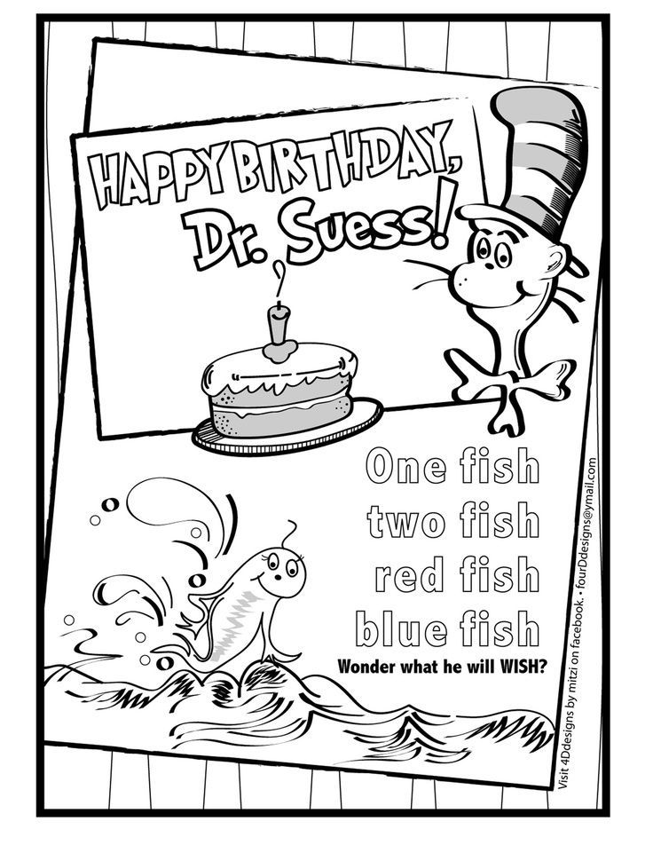 Birthday Coloring Pages Pdf : Happy birthday dr seuss color sheet