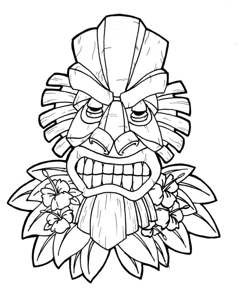 Tiki Coloring Page Coloring Pages For Kids And For Adults