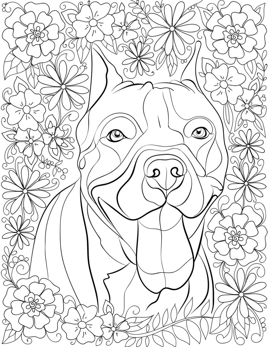 Pitbull Dog Coloring Pages