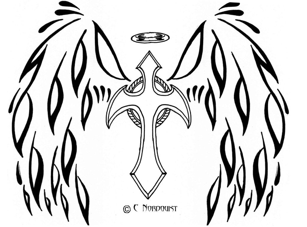12 Pics Of Cross With Angel Wings Coloring Pages Angel