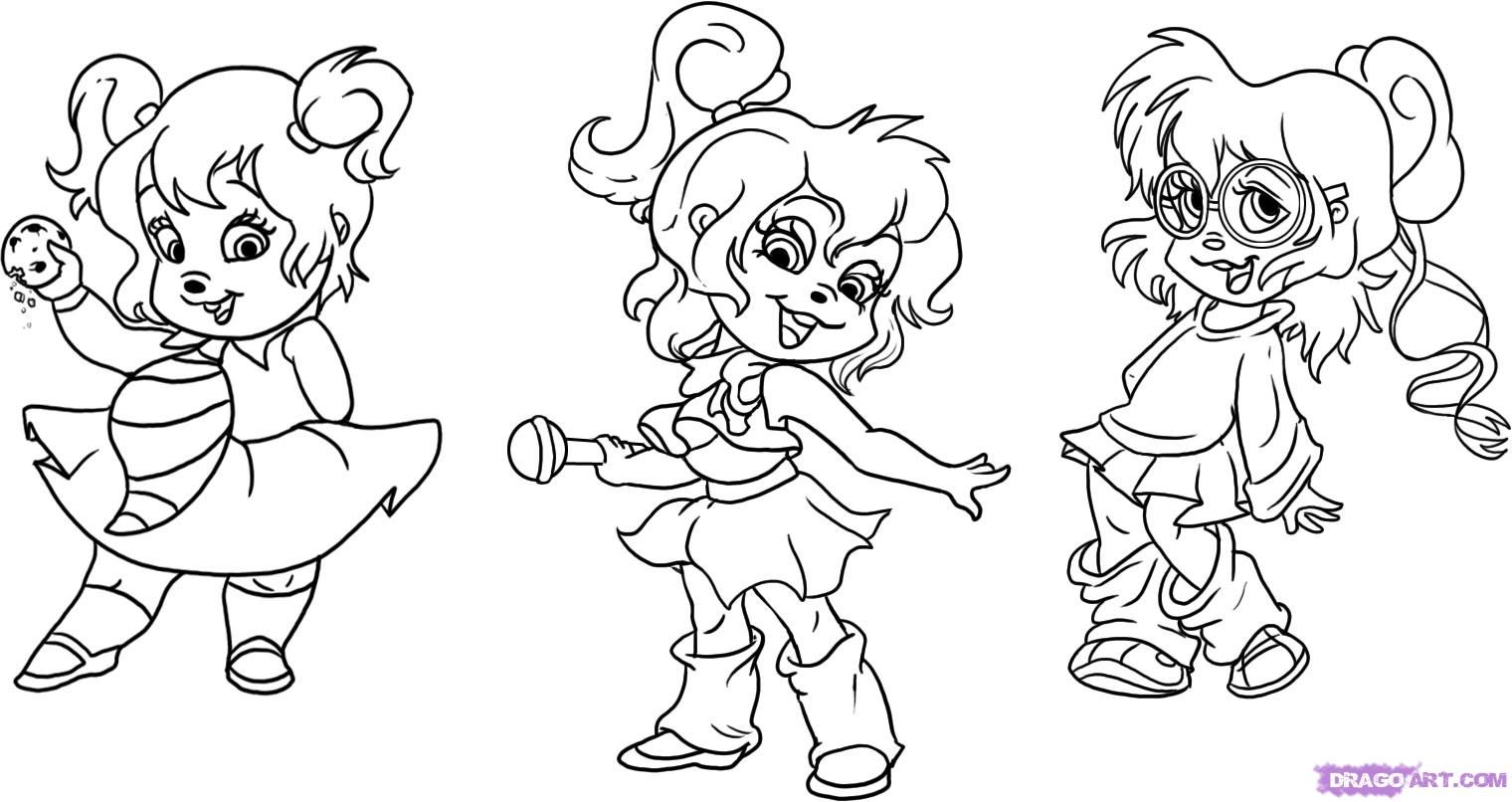 chipmunks and chipettes coloring pages chipmunk rapper oopsy daisy - Alvin And The Chipmunks Pictures To Colour