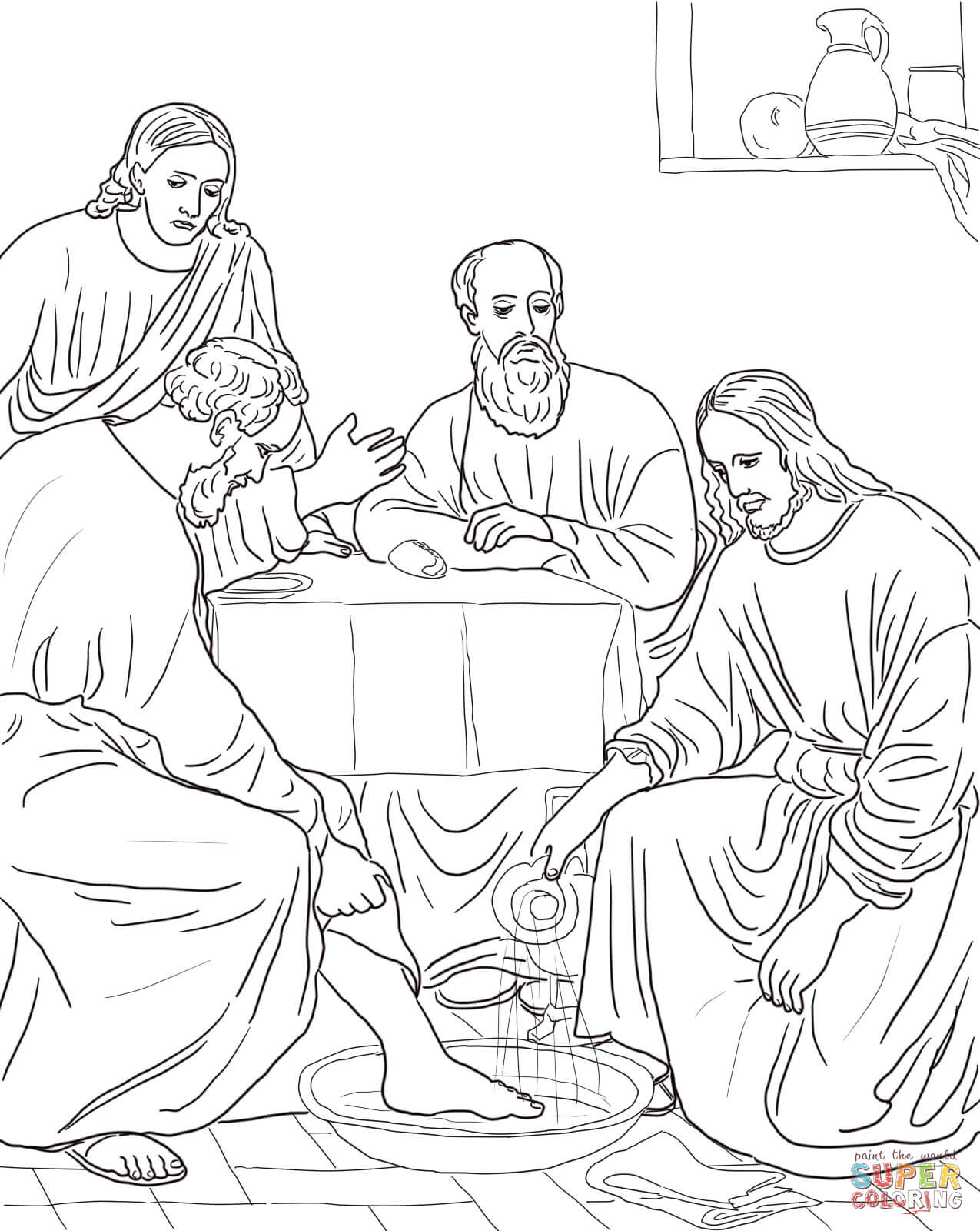 Jesus Washes The Disciples Feet Coloring Page - Coloring Home
