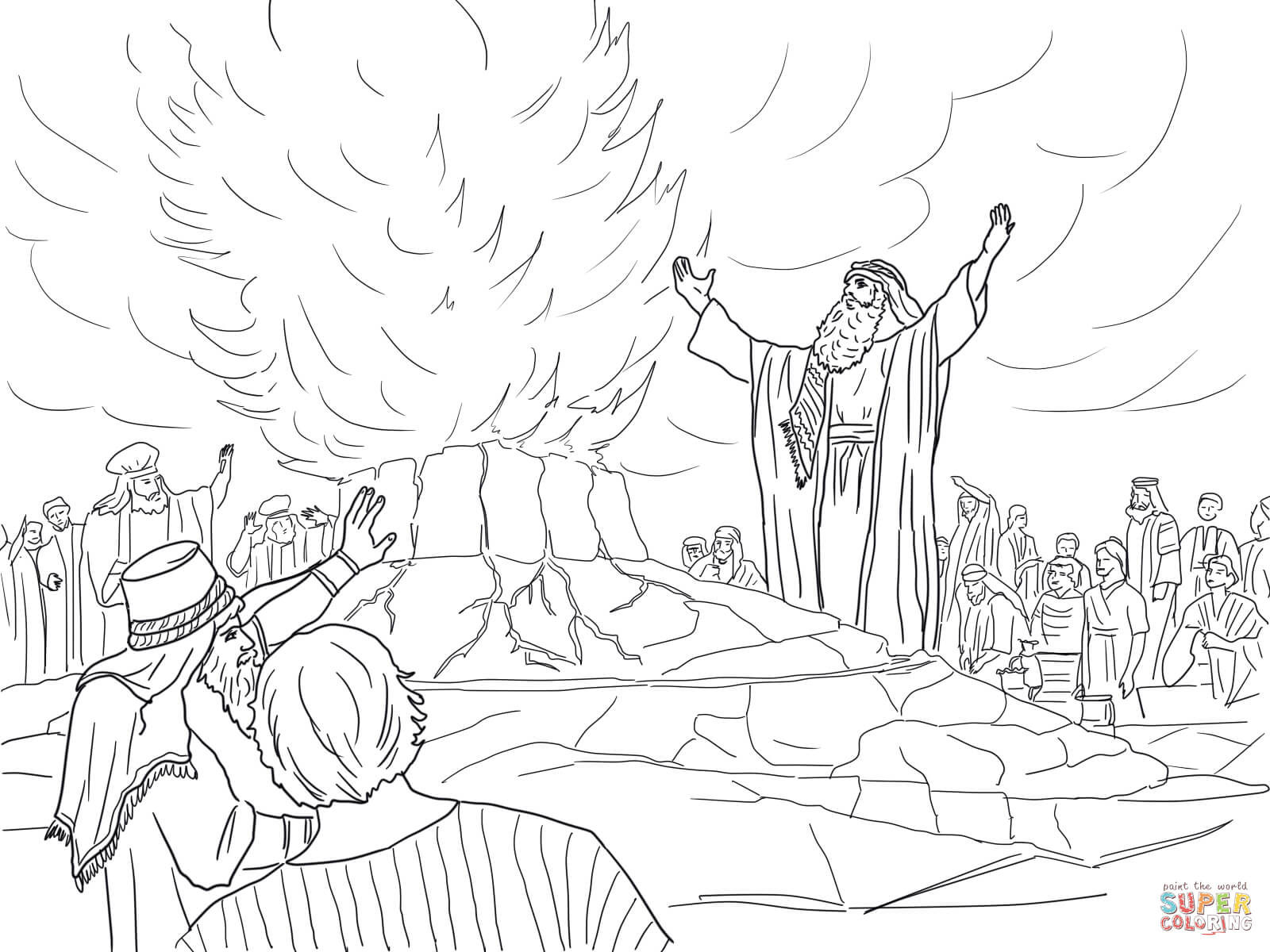 Elijah Called Down Fire from Heaven coloring page | Free Printable ...