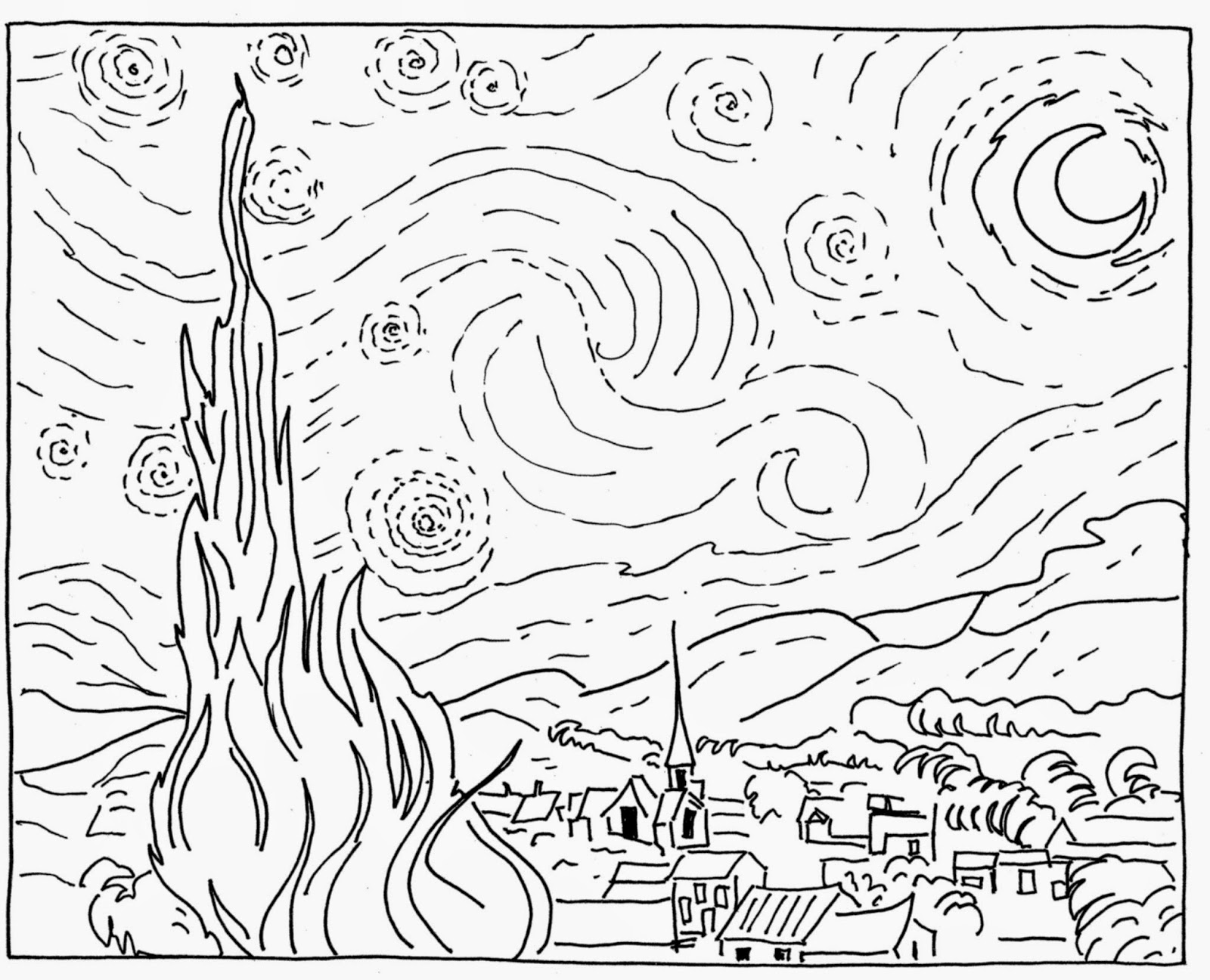 Starry Night Coloring Page Coloring